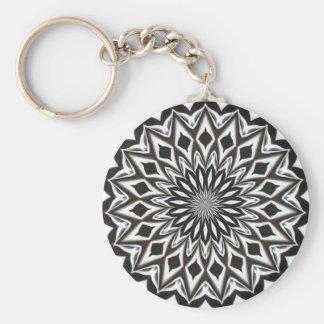 Black And White Decorative Mandala Keychain