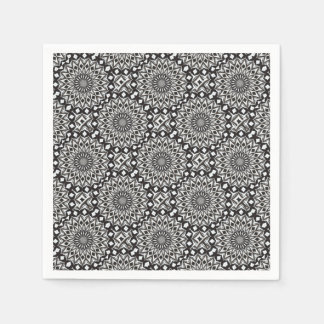 Black And White Decorative Mandala Paper Napkin