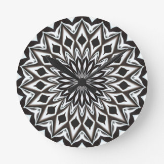 Black And White Decorative Mandala Round Clock