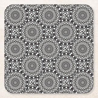 Black And White Decorative Mandala Square Paper Coaster