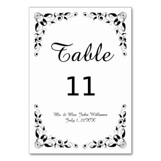 Black and White Decorative Reception Table Card
