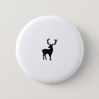 Black and white deer 2 inch round button