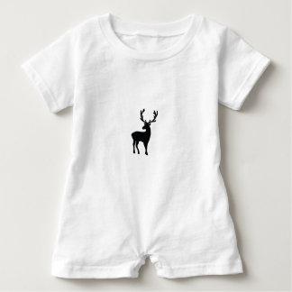 Black and white deer baby romper