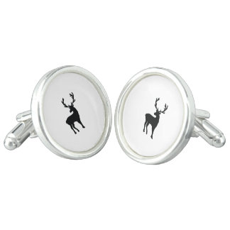 Black and white deer cufflinks