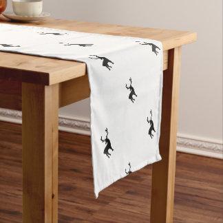 Black and white deer short table runner