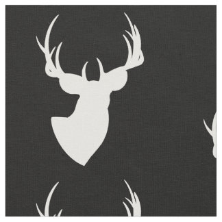 Black and White Deer Silhouette Fabric