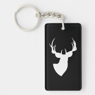 Black and White Deer Silhouette Single-Sided Rectangular Acrylic Keychain