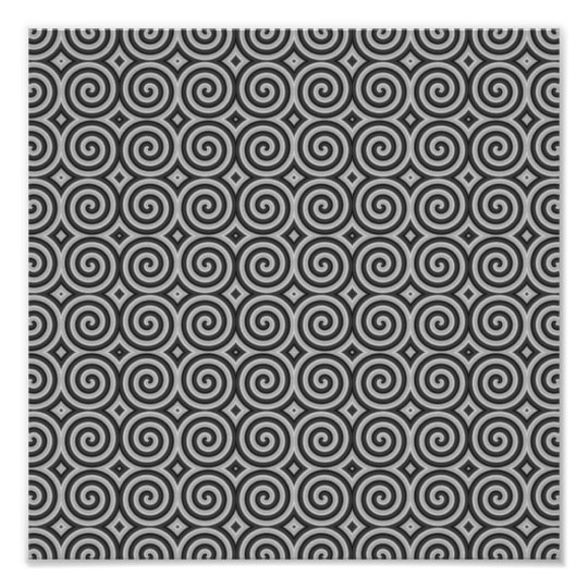 Black and white design. Pattern of Spirals. Poster
