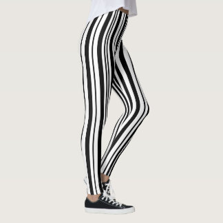 Black and white designer stripes - High Quality Leggings