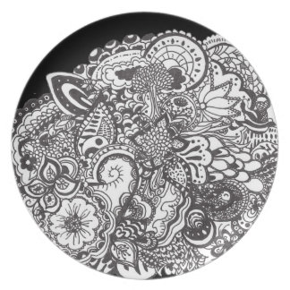 Black and white detailed pen and ink art party plate