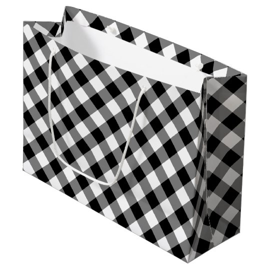 Black and White Diagonal Plaid Gift Bag