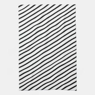 Black And White Diagonal Stripe Hand Towel