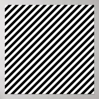 Black and White Diagonal Stripes 12x12 Poster