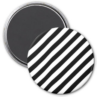 Black And White Diagonal Stripes Pattern 3 Inch Round Magnet