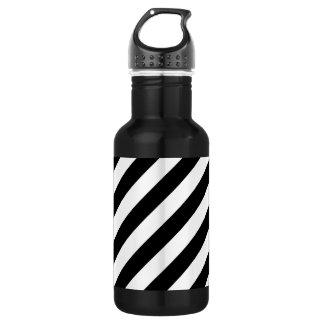 Black And White Diagonal Stripes Pattern 532 Ml Water Bottle