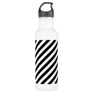 Black And White Diagonal Stripes Pattern 710 Ml Water Bottle