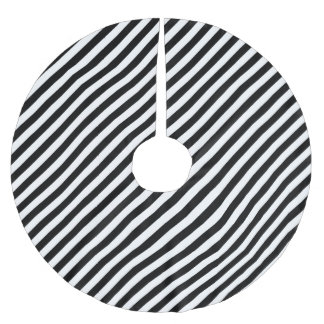 Black And White Diagonal Stripes Pattern Brushed Polyester Tree Skirt