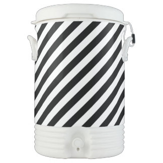 Black And White Diagonal Stripes Pattern Cooler