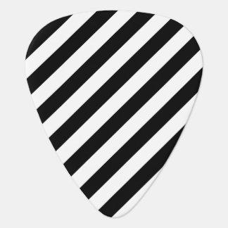 Black And White Diagonal Stripes Pattern Guitar Pick