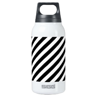 Black And White Diagonal Stripes Pattern Insulated Water Bottle