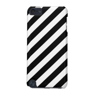 Black And White Diagonal Stripes Pattern iPod Touch (5th Generation) Case