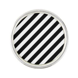 Black And White Diagonal Stripes Pattern Lapel Pin