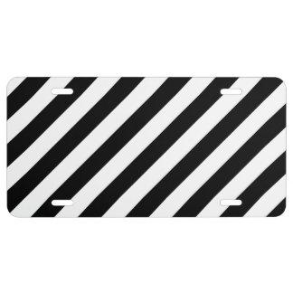 Black And White Diagonal Stripes Pattern License Plate