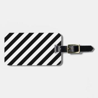 Black And White Diagonal Stripes Pattern Luggage Tag