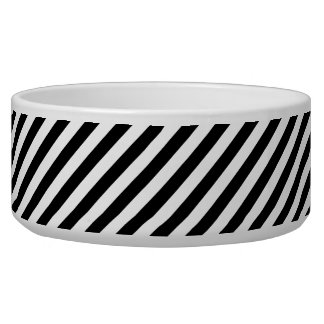Black And White Diagonal Stripes Pattern Pet Water Bowl
