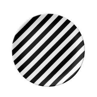 Black And White Diagonal Stripes Pattern Plate