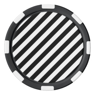 Black And White Diagonal Stripes Pattern Poker Chips