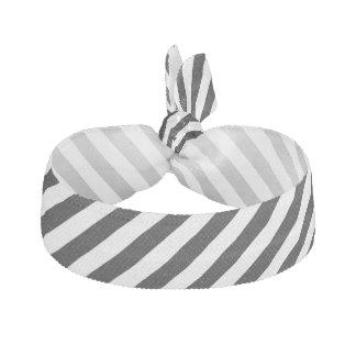 Black And White Diagonal Stripes Pattern Ribbon Hair Ties