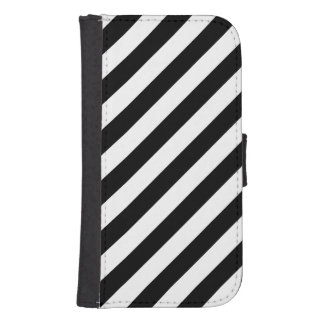 Black And White Diagonal Stripes Pattern Samsung S4 Wallet Case