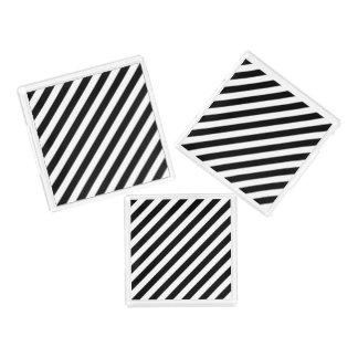 Black And White Diagonal Stripes Pattern Serving Tray