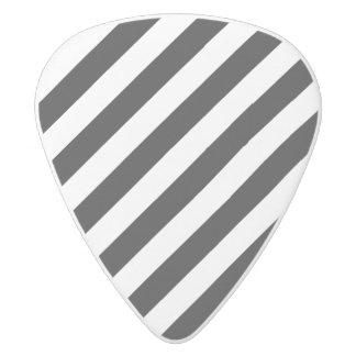 Black And White Diagonal Stripes Pattern White Delrin Guitar Pick