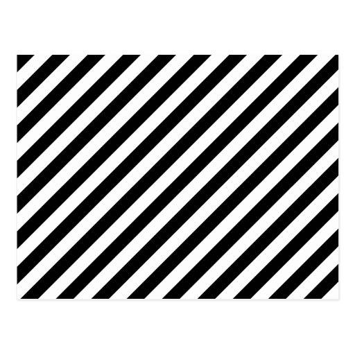 Black And White Diagonal Stripes Postcard Zazzle