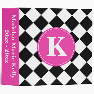 Black and White Diagonal Tiles with Diva Pink Binder