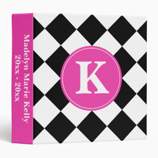 Black and White Diagonal Tiles with Pink Monogram 3 Ring Binders