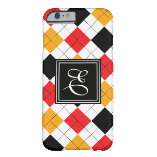Black and White Diamond Design with Initial Barely There iPhone 6 Case