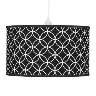 Black and White Diamond Geometric Pattern Hanging Pendant Lamp