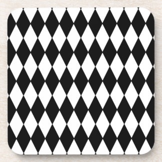 Black and White Diamond Harlequin Pattern Coaster