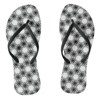 Black and White Diamond Kaleidoscope Pattern Flip Flops