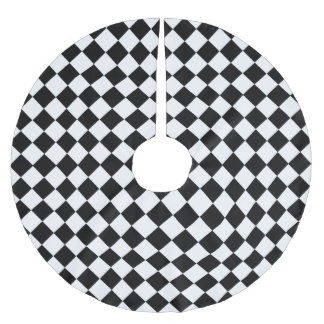 Black And White Diamond Pattern by Shirley Taylor Brushed Polyester Tree Skirt