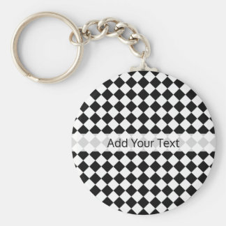 Black and White Diamond Pattern by Shirley Taylor Keychain
