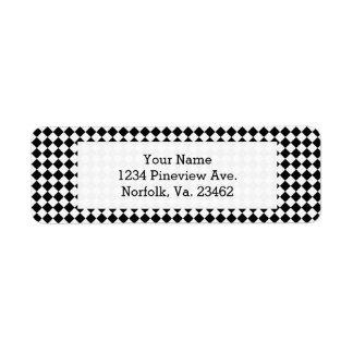 Black And White Diamond Pattern by Shirley Taylor Return Address Label