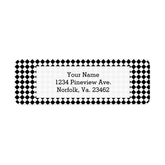 Black And White Diamond Pattern by Shirley Taylor Return Address Label