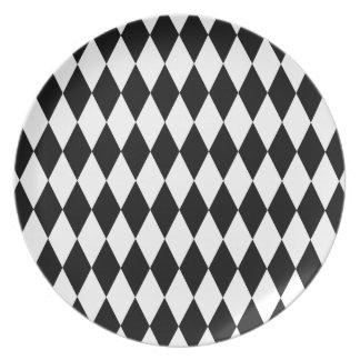 Black and White Diamond Pattern Plate