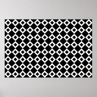 Black and White Diamond Pattern Poster