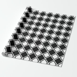 Black and White Diamond Squares Wrapping Paper