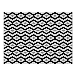 Black and White Diamond Zigzag Poster